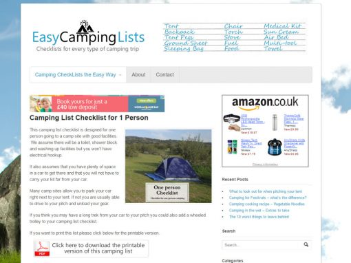 Easy Camping Lists